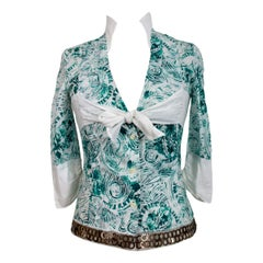 Jean Paul Gaultier White Green Cotton Short Shirt Pendant