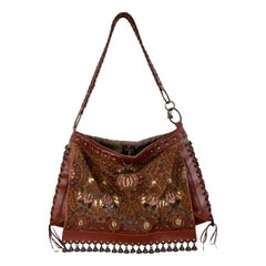 Jamin Puech Brown Leather Floral Studs Shoulder Bag