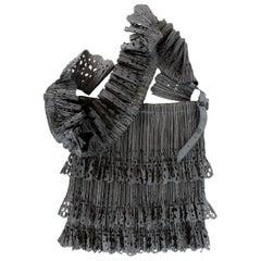 Issey Miyake Pleats Please Black Cow Leather Insert Crossbody Pleated Bag