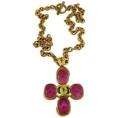 Chanel Vintage Gold Toned Gripoix Cross Pendant Necklace