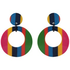 Large Round Drop Dangle Earrings Clips Replica 60s
