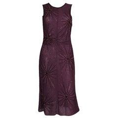 A vintage 1990s purple Tomsaz Starzewski Aubergine Beaded Cocktail Dress