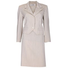 A vintage 1990s Christian Dior Cream and Black Pinstripe Suit