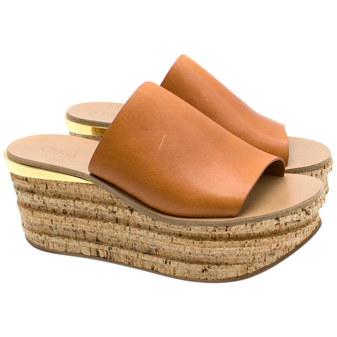 5 Leather Wedge Sandals Camille 39 Chloe TKF1c3lJ