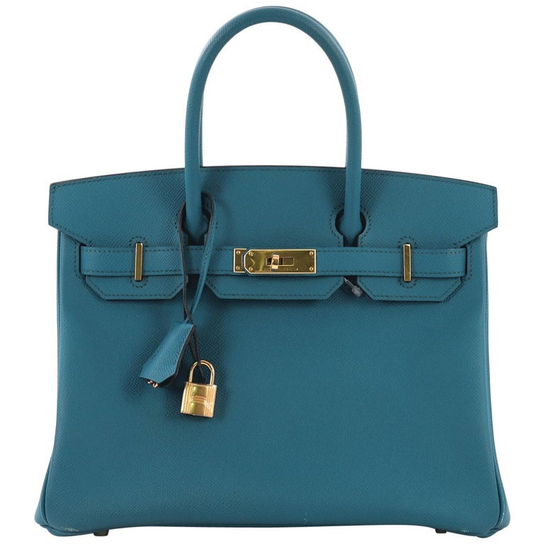 84ca0d0cfc04 Hermes Birkin Handbag Blue Izmir Epsom with Gold Hardware 30 For Sale