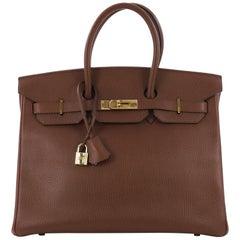 Hermes Birkin Handbag Noisette Ardennes with Gold Hardware 35