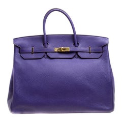 Hermes Ultra Violet Clemence Leather Gold Hardware Birkin 40 Bag
