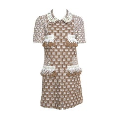 Louis Vuitton Tan Embroidered Sequined Fringe Trim Dress Coat L