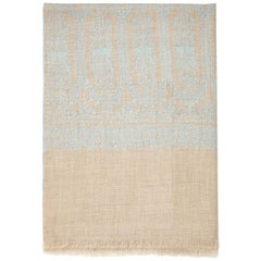 Hand Embroidered Cashmere Shawl in Natural Taupe & Blue Made in Kashmir India
