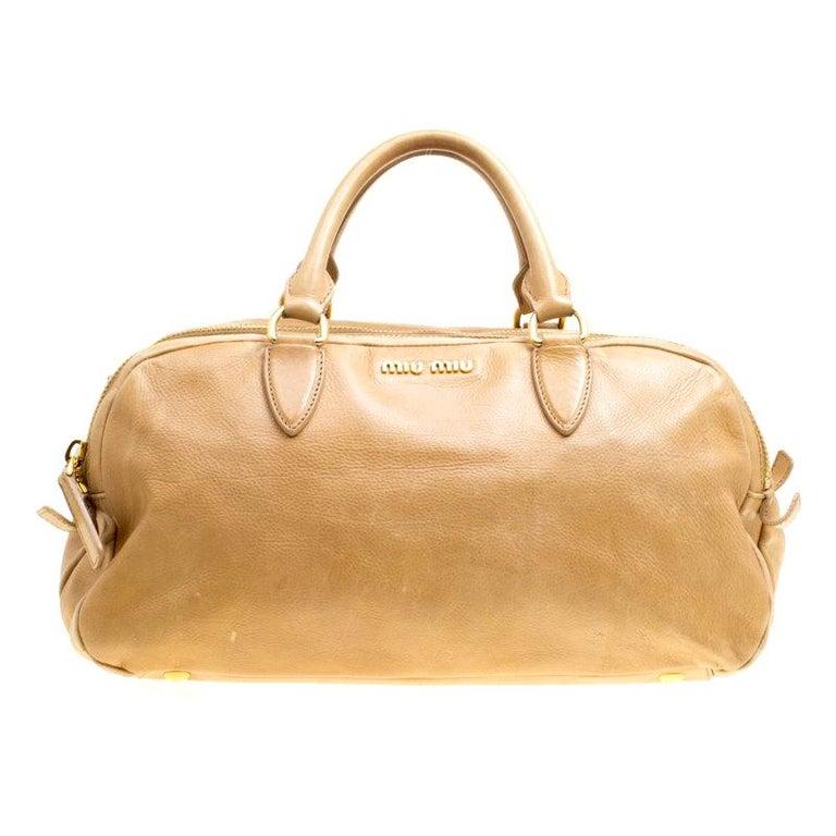 f6953593aff4 Miu Miu Light Brown Leather Satchel For Sale at 1stdibs