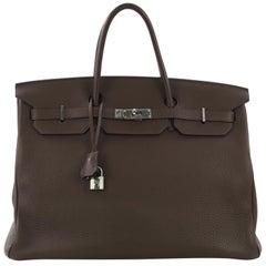 Hermes Birkin Handbag Chocolat Clemence with Palladium Hardware 40