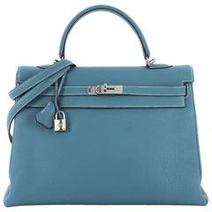 Hermes Kelly Handbag Bleu Jean Togo with Palladium Hardware 35