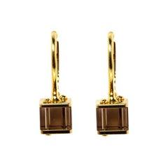 Louis Vuitton Emprise Cube Smoky Quartz 18k Yellow Gold Drop Earring