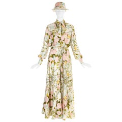 Hermes silk floral maxi shirt dress with matching sunhat, c. 1970s