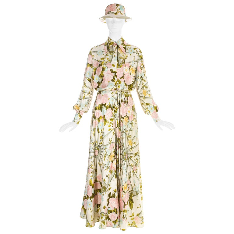 Hermes silk floral maxi shirt dress with matching sunhat, c. 1970s For Sale