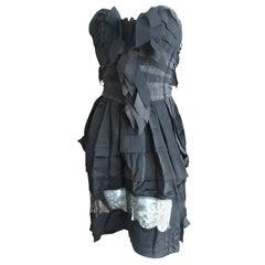 Nina Ricci by Olivier Theyskens Black Silk Strapless Corset Cocktail Dress Sz 36