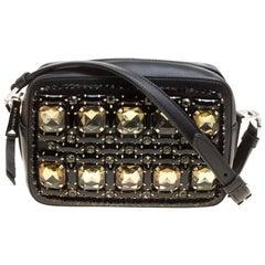 Rochas Black Leather Crystal Embellished Crossbody Bag