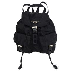 Prada Black Nylon Small Double Buckle Pocket Backpack Bag
