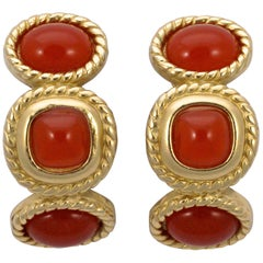 Trifari Gold Plated and Apricot Glass Cabochon Clip On Earrings, circa 1980s