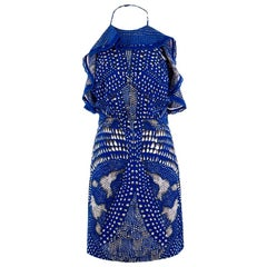 Roberto Cavalli Blue Spotted Minidress US 4