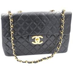 Chanel Vinatge Timesless Jumbo 34cm Black Lambskin Leather