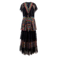 Philosophy Di Lorenzo Serafini Silk & Lace Tiered Dress US 6