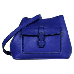 Loro Piana Cobalt Blue Leather Globe Bandouliere Crossbody Bag