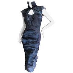 Yves Saint Laurent by Tom Ford Reptile Print Two Layer Sheer Dress Fall 2004