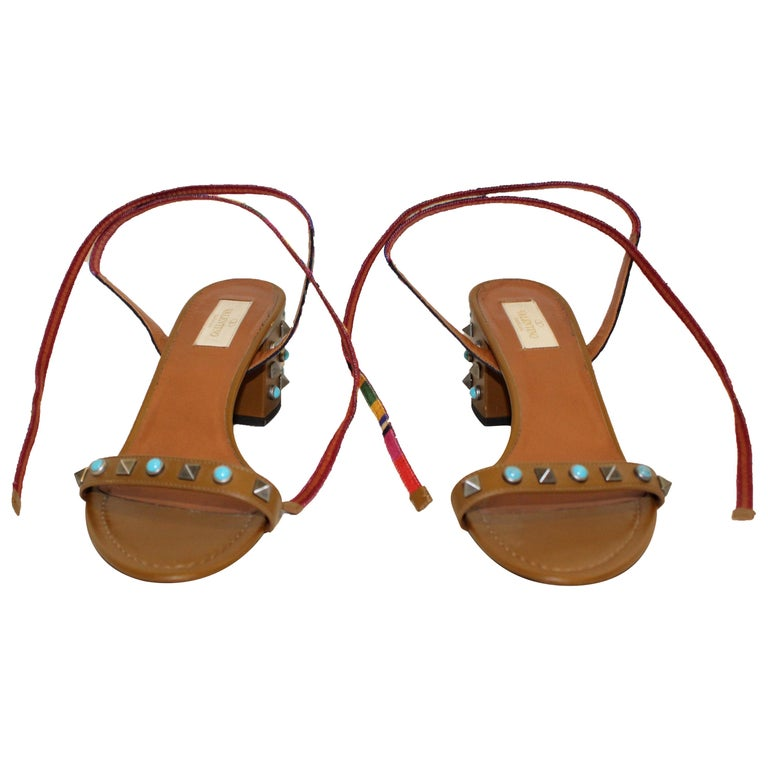 6e11bda89d Valentino Tan Chunky Heel with Rock Studs & Faux Turquoise Round Studs  Shoes For Sale