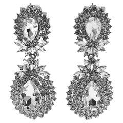 Vintage Clear Crystals Drop Pierced Earrings