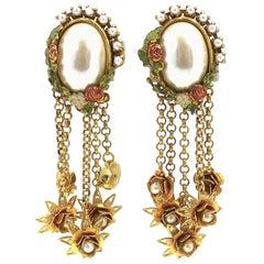 Vintage 1950s Faux Pearl Dangle Earrings