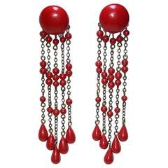 Circa 1920s Deco-Era Red Bead Dangling Earrings