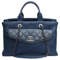 Chanel Blu Navy Leather Tote Shopper Bag