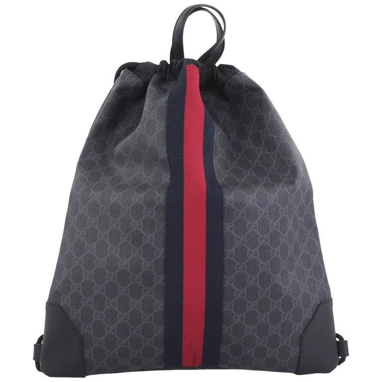 78fc2483c4d904 Gucci Web Drawstring Backpack GG Coated Canvas Large at 1stdibs