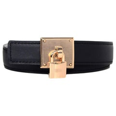 Hermes '18 Blue/White 24mm Reversible Belt w. Rose Gold Tresor Lock Buckle sz 95