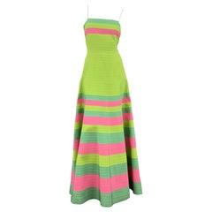 OSCAR DE LA RENTA Size 8 Green Turquoise & Pink Grosgrain Striped Gown
