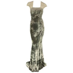 BADGLEY MISCHKA Size 10 Moss Green Beaded Tulle Top Evening Gown