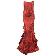 OSCAR DE LA RENTA 8 Red Floral Silk Taffeta Pointed Bustier Ruffle Back Gown