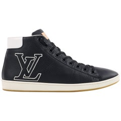 LOUIS VUITTON Navy Blue Leather Tattoo LV Logo Monogram High Top Sneakers