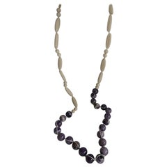 Dog Tooth Amethyst Wood Long Gemstone Necklace
