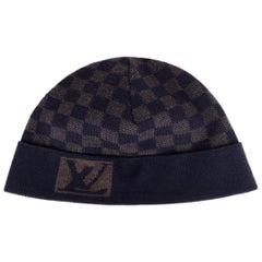 Louis Vuitton Navy/Brown Wool Bonnet Petit Damier Beanie Hat
