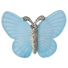 Signed Vintage Kenneth J. Lane Blue Butterfly Brooch