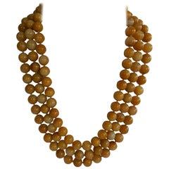 Yellow Jade Multi Strand 925 Sterling Silver Gemstone Necklace