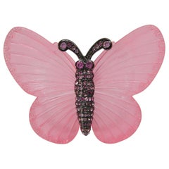Signed Vintage Kenneth J. Lane Pink Butterfly Brooch