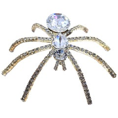"""Large 4""""by 3"""" Clear Crystals Spider Brooch"""
