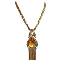 Early 1900s Book Chain and Topaz Faceted Glass Pendant/Brooch Necklace