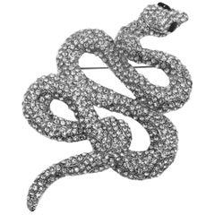 "Large 4 ""Crystal Snake Brooch/Pendant"