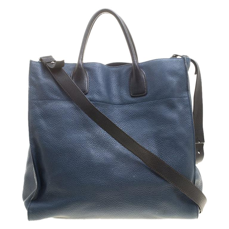 dd39f1e5af32 Prada Blue Black Leather Tote For Sale at 1stdibs