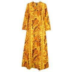Vintage Early Janice Wainwright for Simon Massey Maxi Yellow Kaftan Dress, 1960s