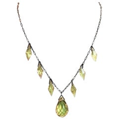 Circa 1920s Czechoslovakian Yellow Faceted Drop Necklace